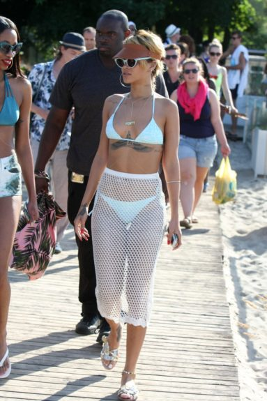 Rihanna relaxes on a Polish beach in Sopot, Poland. Mandatory Credit: INFphoto.com