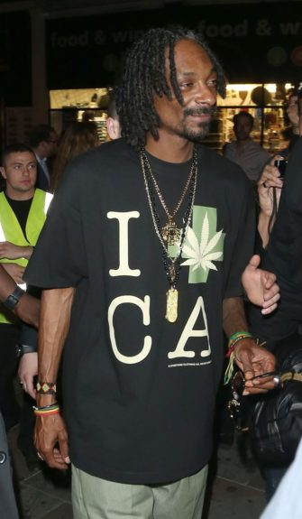 Snoop Dogg returns to his East London hotel after attending the Wireless afterparty at Boujis nightclub in London.