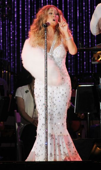 Mariah Carey performs at the Major League Baseball All-Star Charity Concert to benefit Sandy Relief at Central Park's Great Lawn in New York City.