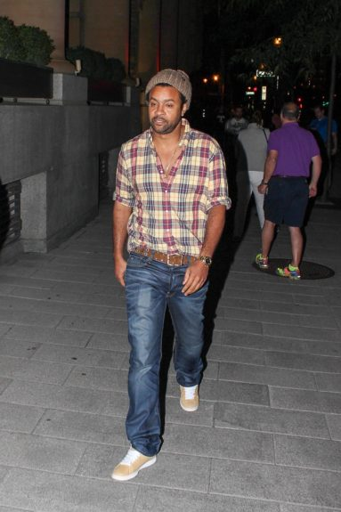 Shaggy walking around McGill Street in Montreal.