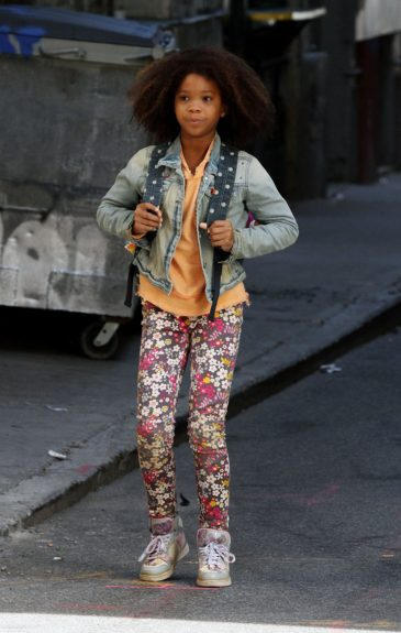 Quvenzhané Wallis films scenes on the set of the new<em>Annie</em>remake in New York City.