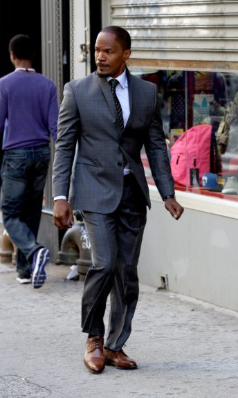 Jamie Foxx films scenes on the set of the new<em>Annie</em>in New York City.