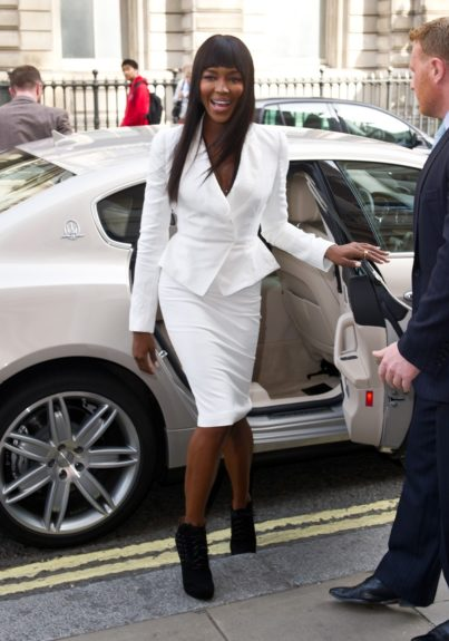 Naomi Campbell arriving at the launch of <em>The Face </em>at the Royal Opera House in London.