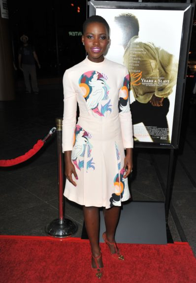 Lupita Nyong'o attending the premiere of <em>12 Years a Slave</em> in Los Angeles.