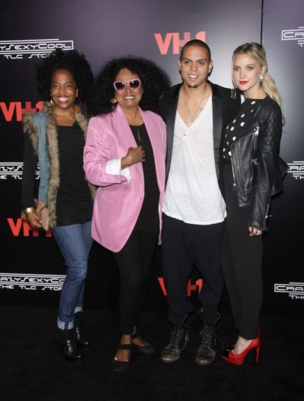 Rhonda Ross Kendrick, Diana Ross, Evan Ross and Ashlee Simpson attending VH1's premiere of <em>CrazySexyCool: The TLC Story </em>at AMC Loews Lincoln Square in New York City.