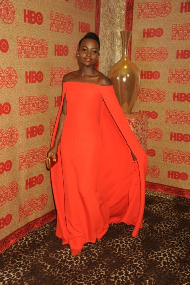 Lupita Nyong'o attends the HBO Golden Globes afterparty during the 71st Annual Golden Globe Awards, held at the Beverly Hilton in Beverly Hills.