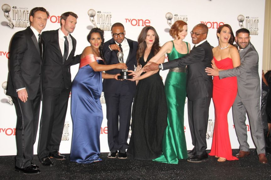 Tony Goldwyn, Scott Foley, Kerry Washington, Columbus Short, Katie Lowes, Darby Stanchfield, Joe Morton, Bellamy Young, and Guillermo Diaz