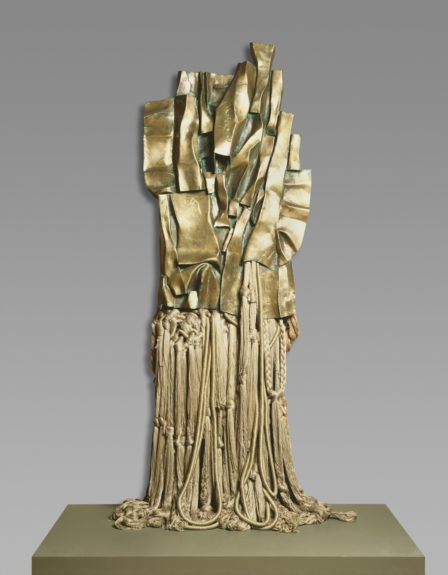 <strong>Malcolm X #3</strong>, 1969. Polished bronze, rayon, and cotton, 118 x 47 1/4 x 9 7/8 inches, Philadelphia Museum of Art, 125th Anniversary Acquisition, Purchased with funds contributed by Regina and Ragan A. Henry, and with funds