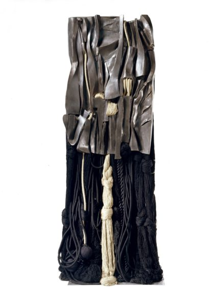 <strong>Malcolm X #10</strong>, 2007. Black bronze, silk, wool, rayon, cotton, and synthetic fibers, 78 1/4 x 34 x 21 inches  	Base: 27 1/2 x 23 1/2 inches, Courtesy of the Artist