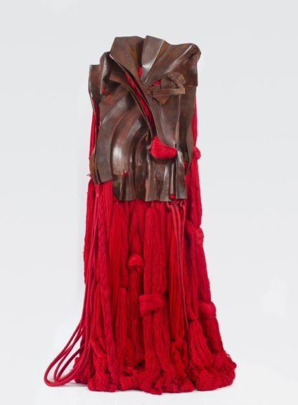 <strong>All That Rises Must Converge / Red</strong>, 2008. Red bronze, silk, cotton, and synthetic fibers, 74 1/2 x 42 x 28 inches, Base: 23 1/2 x 17 5/8 inches, Courtesy of the Artist