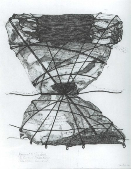 "<strong>Monument to Man Ray's ""The Enigma of Isidore Ducasse,"" Philadelphia</strong>, 1996. Etching on paper, reworked with charcoal, charcoal pencil, and pen and ink, 31 1/2 x 23 3/4 inches, Courtesy of"