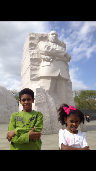 Matthew and Lila on one of their many sightseeing visits at the Martin Luther King Jr. Memorial.