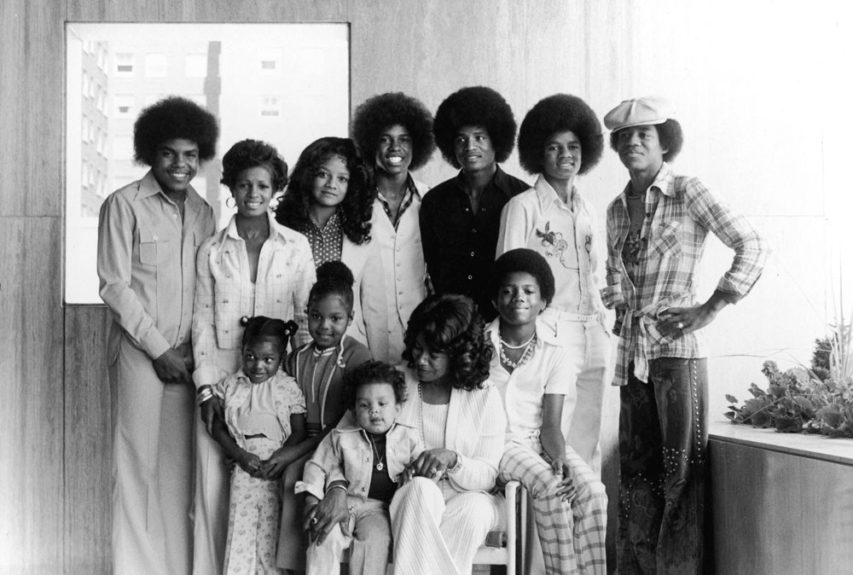 Katherine's Jackson tribe, 1975, clockwise from left: Tito, Maureen, LaToya, Jermaine, Jackie, Michael, Marion, Stacy Brown (granddaughter), Janet, Mrs. Jackson, Randy, and Taj (grandson) Photo: Norman L.  	View the entire EBONY Collection