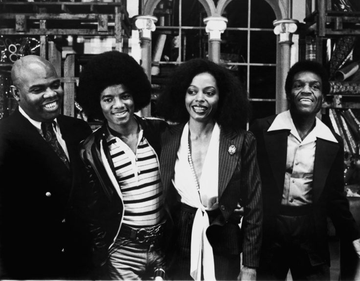 The cast of The Wiz (Ted Ross, MJ, Diana Ross, Nipsey Russle)
