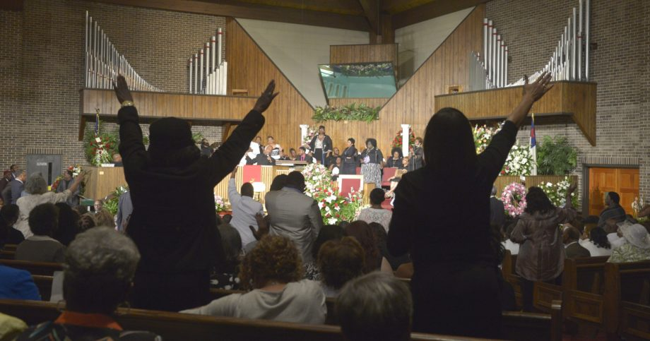 Attendees spilled into the aisles at the celebration of Helen Burns Jackson's life.