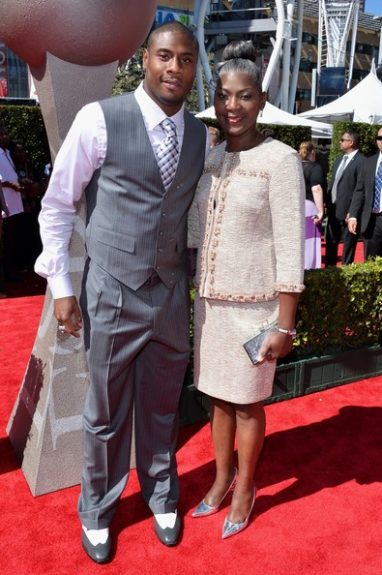 Jacoby Jones brought his beautiful Mom, nice accessory!