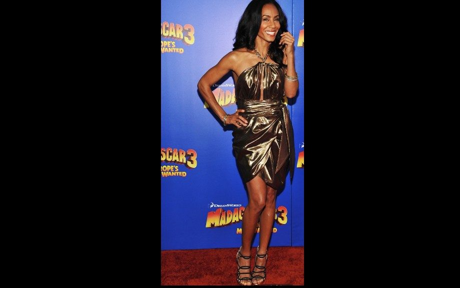 Jada Pinkett-Smith at the premiere of Madagascar 3: Europe's Most Wanted at Ziegfeld Theatre, in a Salvatore Ferragamo dress with Jimmy Choo heels, Le Vian bangles, and Jennifer Meyer earrings