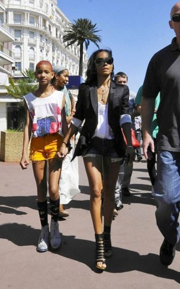 Jada Pinkett-Smith and daughter Willow cut up in the South of France with denim shorts at the 65th Annual Cannes Film Festival