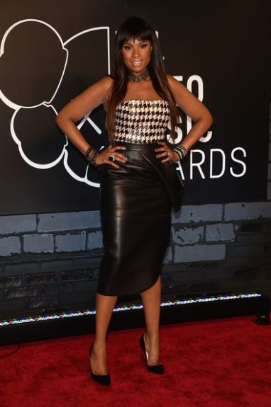 Jennifer Hudson is a beauty in this Christian Dior houndstooth corset, with a black leather pencil skirt by the designer as well. She better work that Chinese bang for the camera! Photo Credit: Getty