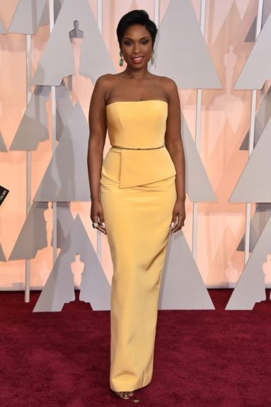 "Jennifer Hudson: ""Resplendent in cornflower yellow, a clean, fresh look and a great column silhouette."""