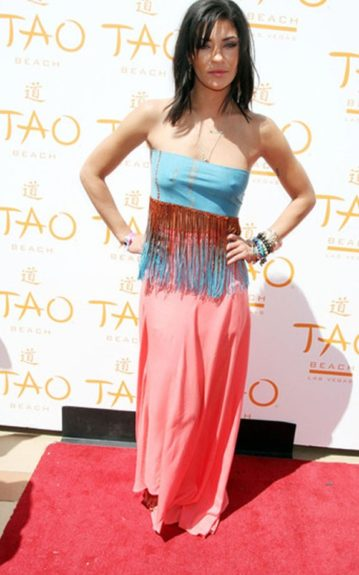 Jessica Szohr dressed appropriately for Cinco de Mayo in color and fringe though she may have been better off with a missing undergarment if you catch our drift
