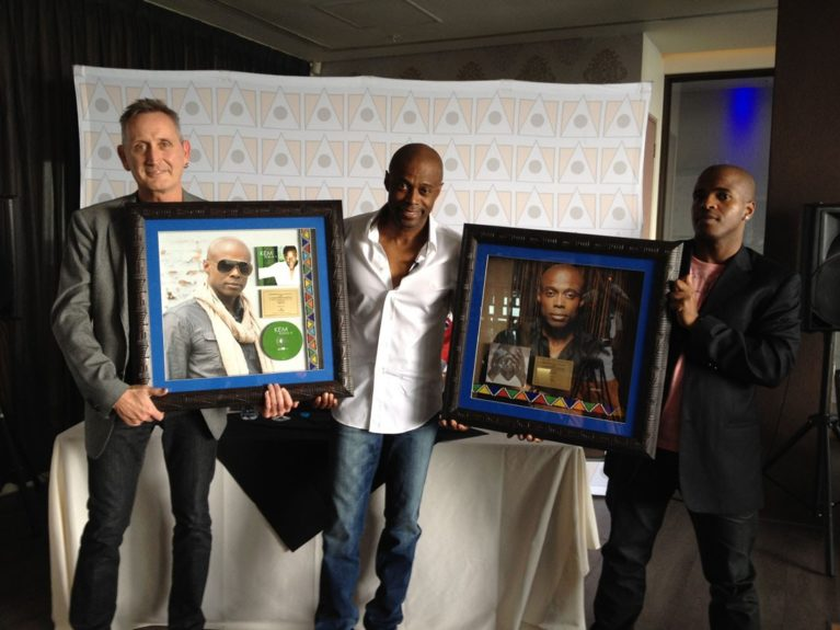 KEM receives Gold plaques for 'KEMISTRY' & 'KEM ALBUM II' from Motown South Africa executives, Vincent Ntuli & Steve Harris
