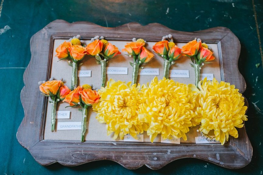The beautiful bouquets for the bridal party and groomsmen