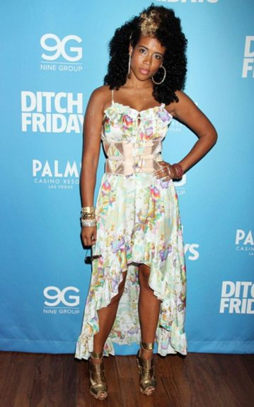 Kelis looked pretty in floral in a high-low spaghetti strap dress and bouncy curls for the Ditch Fridays event at the Palms Pool and Bungalows in Las Vegas.