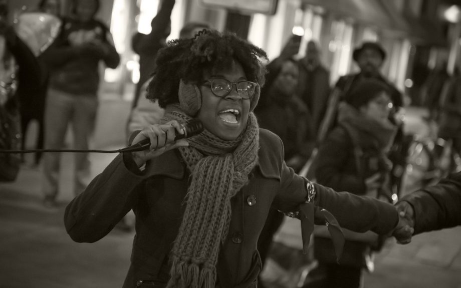 <p> 	CHICAGO: Charlene Carruthers, Black Youth Project 100, helps lead a protest on Nov. 24, 2015, following the release of a dashcam video showing the shooting death of 17 year-old LaQuan McDonald by Chicago police officer Jason Van Dyke . (EBONY Digital Editorial/Chan C. Smith)</p>