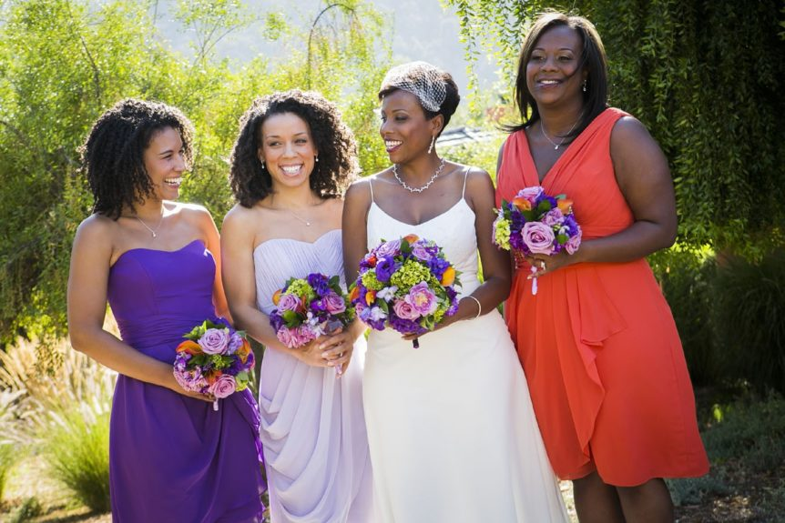 While non-traditional in bridal party style, the ladies still stunned alongside the elegant bride