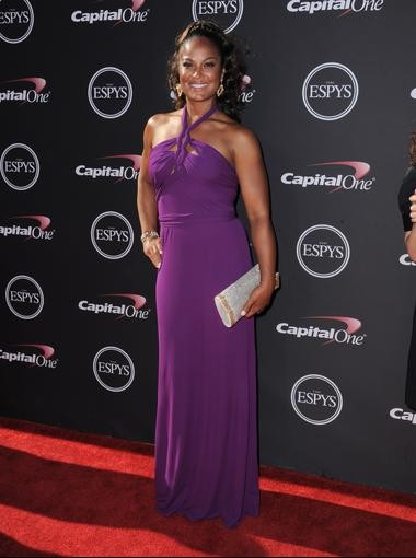 Laila Ali's is a vision in the color purple