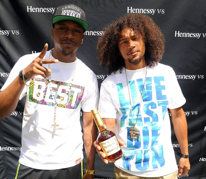 "Hip-hop duo Los Rakas enjoy the Hennessy V.S brunch celebrating the 20<sup>th</sup> anniversary of Nas' album ""Illmatic,"" held during Coachella in Palm Springs on April 13."