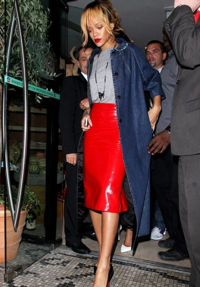 Rihanna does midi sexy, topped with a grey t-shirt and navy overcoat.