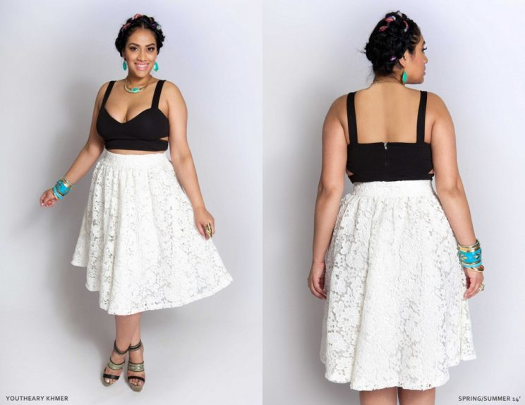 The lace midi length skirt and bustier are perfect for the season's upcoming date nights