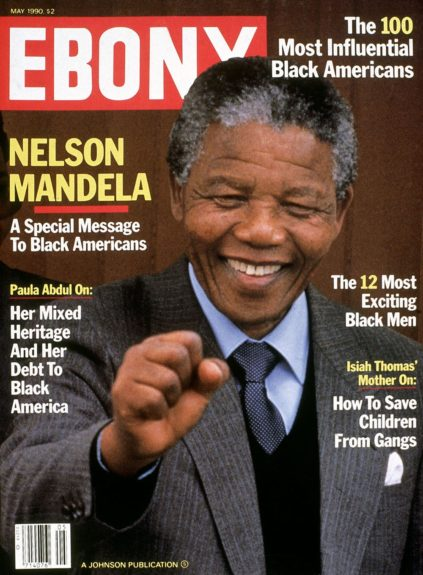 """Nelson Mandela on the cover of the 1990 May issue of<br /> Ebony  View the entire EBONY Collection<strong><a href=""""http://www.ebony.com/store#axzz2PsEj7sec"""" target=""""_blank"""">here</a></strong>."""