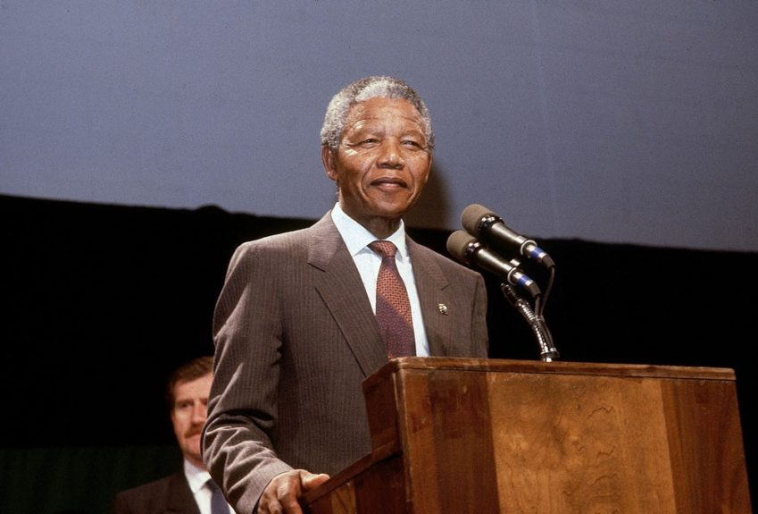 """Nelson Mandela addresses his audience during an event on June 25, 1990. (Frederick Watkins, Jr./Ebony Collection)  View the entire EBONY Collection<strong><a href=""""http://www.ebony.com/store#axzz2PsEj7sec"""" target=""""_blank"""">here</a></strong>."""