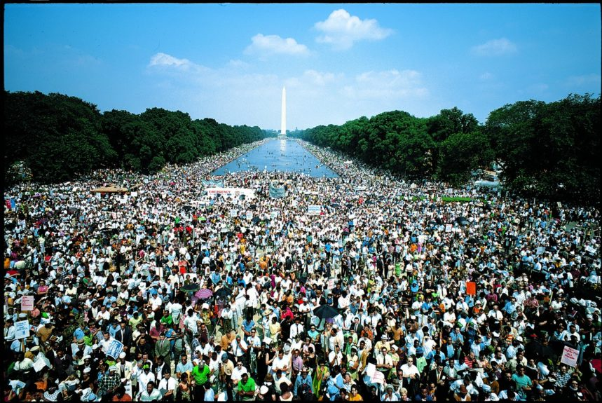 A view of the colorful crowd assembled at the Washington Monument.