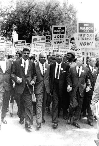 March on Washington, biggest protest march, comprised of a heterogeneous group of young, old, labor leaders and preachers, students and housewives, African Americans, Whites, moves down Constitution Avenue, for huge civil rights demonstration. For the participants and the millions who watched o