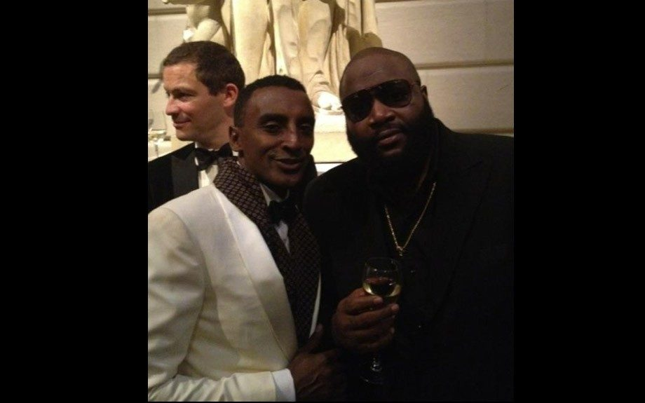 Marcus Samuelsson framed his black bow tie with a burgundy patterned suit scarf while Rick Ross missed the bow tie memo and opted for a black suit on a black button-down shirt