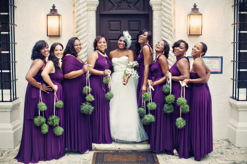 The bridesmaids look so cute in the color of royalty