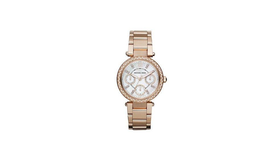 Keep the Rosé theme going with Michael Kors' reasonably priced Chronograph Rose Gold Watch, $250 at macys.com