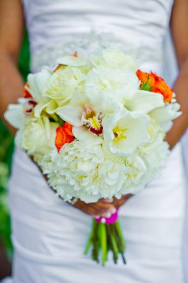 Flower Girl: The beautiful bouquet Charity walked down the aisle with