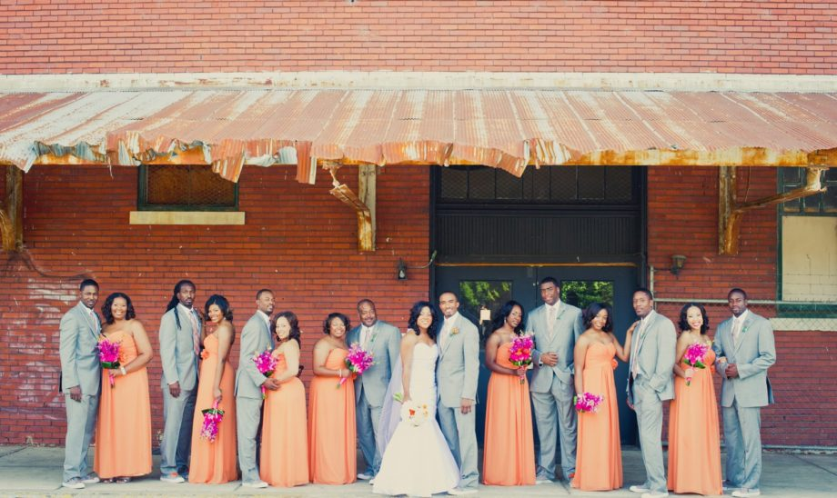 The party: The groomsmen were suave in grey and the bridesmaids were gorgeous in floor-length peach gowns