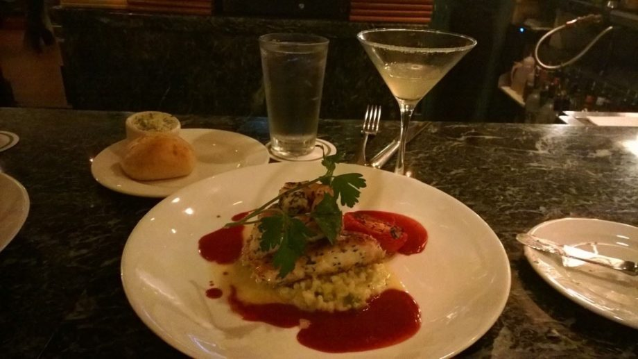"""Pink snapper and a lavender moonshine cocktail with a sugar rim at <a href=""""http://lahainagrill.com/"""" target=""""_blank"""">Lahaina Grill</a>"""