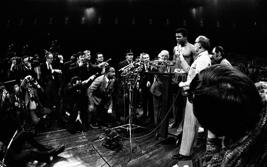Muhammad Ali during a weigh-in for the Frazier v. Ali fight in 1971.