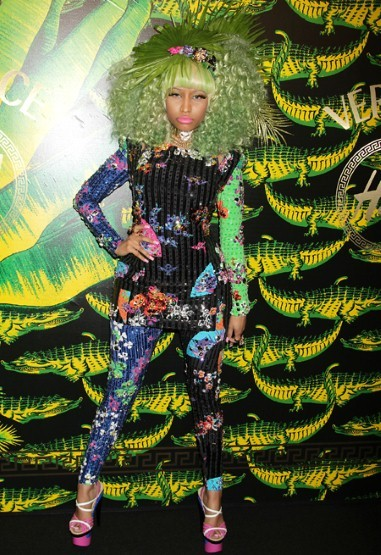Nicki at the Versace for H&M runway launch party