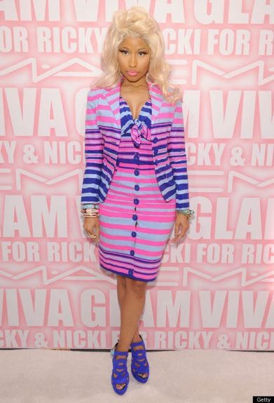 Nicki's untraditional striped suit was the perfect outfit choice during her campaign for her new collaboration with Mac