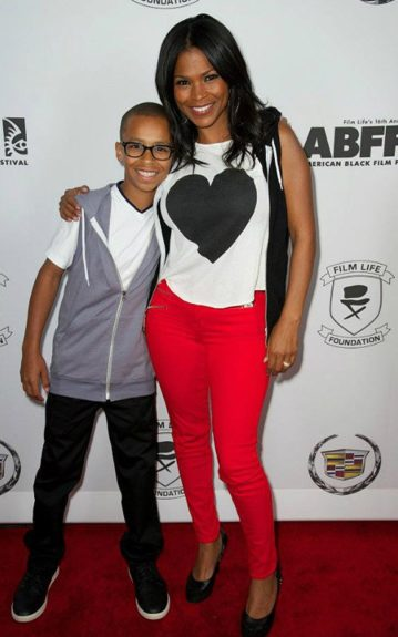 Actress Nia Long and son Massai attend the ABFF Strikes for Education event in April