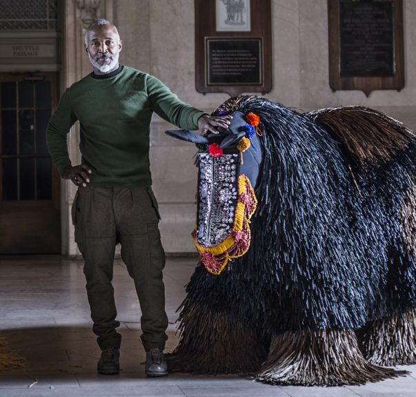 Nick Cave with a horse soundsuit;Photo Credit by Travis Magee, Courtesy Creative Time and MTA Arts for Transit