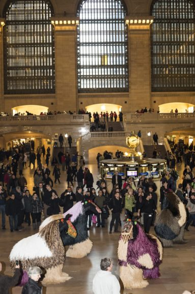 A herd of soundsuits invade Grand Central Station;Photo Credit by Travis Magee, Courtesy Creative Time and MTA Arts for Transit